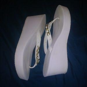 White Guess Platform Flip Flops